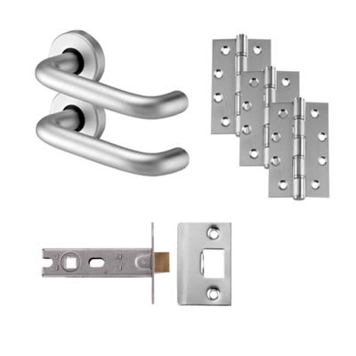 Touchpoint Lever Door Handle on Rose - Latch - Door Kit - Aluminium