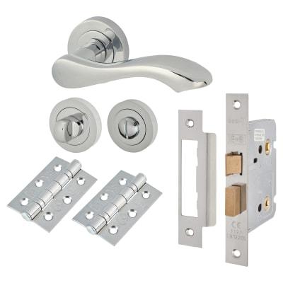 Touchpoint Scarlett Lever Door Handle on Rose - Bathroom Lock - Door Kit - Polished Chrome