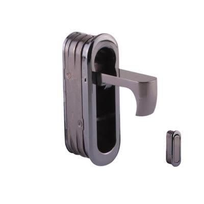 Altro Door Edge Finger Pull - 58 x 18 x 18mm - Polished Black Nickel