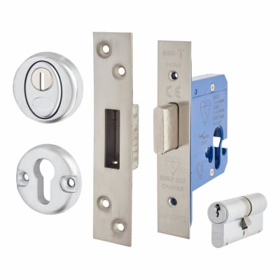 Hampstead BS3621 Euro Deadlock & Double Cylinder - 65mm Case - 44mm Backset - Satin Stainless