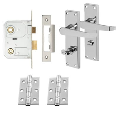 Touchpoint Victorian Bathroom Door Handle Lock Kit - Polished Chrome