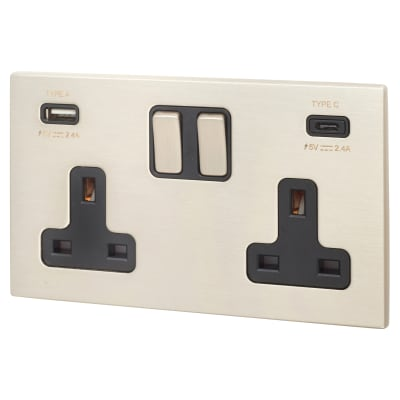 Hamilton Hartland CFX 13A 2 Gang DP Switched Socket x2 USB Type A/C 2.4A - Satin Steel/Black