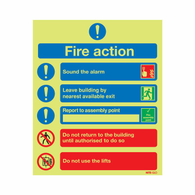 Nite Glo Fire Action Notice - 300 x 250mm