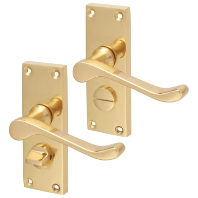 Touchpoint Victorian Scroll Privacy Door Handle - Polished Brass