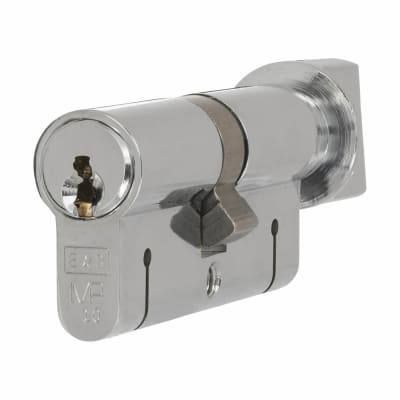 Eurospec 15 Pin 64mm Euro Thumbturn Cylinder - 32mm [Turn] + 32mm - Polished Chrome - Keyed to Diffe