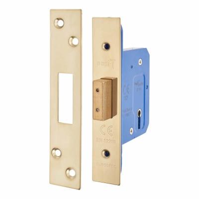 Hampstead Architectural 3 Lever Deadlock - 65mm Case - 44mm Backset - PVD Brass