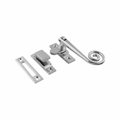 Hampstead Open Curl Hook & Plate Window Fastener - Polished Chrome