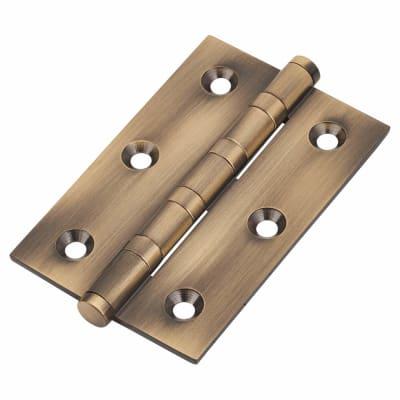 Performance Bearing Hinge - 75 x 50 x 2.5mm - Antique Brass - Pair