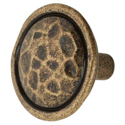 Olde Forge Mottled Cabinet Knob - 35mm - Antique Brass