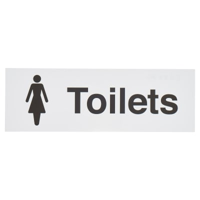 Rectangle Female Toilet Sign - 100 x 300mm - White