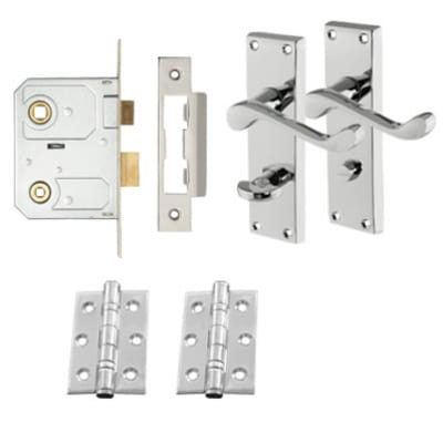 Touchpoint Victorian Bathroom Scroll Door Handle Lock Kit - Polished Chrome