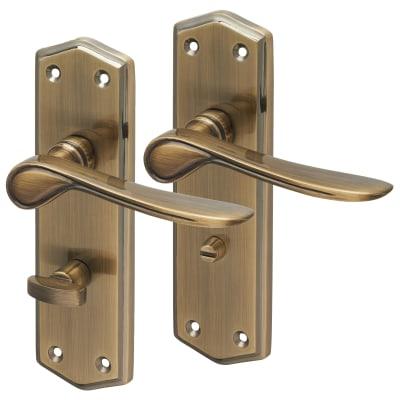 Touchpoint Rome Bathroom Door Handle - Antique Brass
