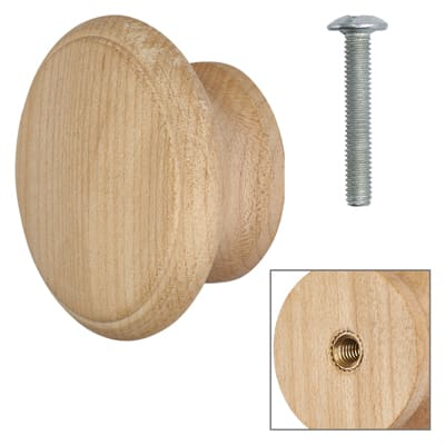 Touchpoint Wooden Cabinet Knob - Raw Maple - with Bolt & Insert - 60mm - Pack 5