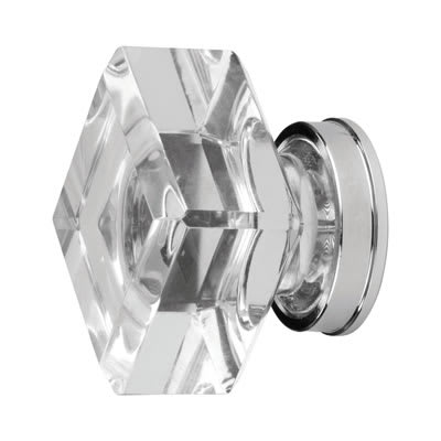 Square Glass Cabinet Knob - 25mm - Clear