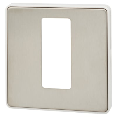 MK Front Plate For 50A 1 Gang Double Pole Switch With Neon - Brushed Stainless Steel