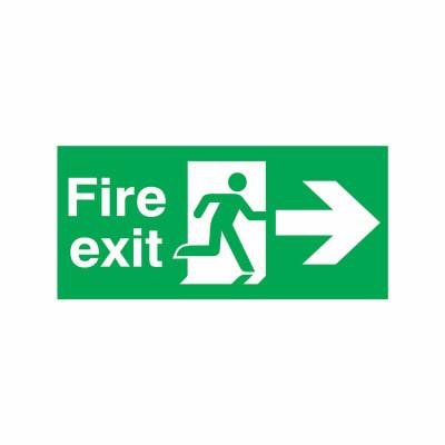 Fire Exit - Running Man with Arrow - Right - 150 x 450mm - Rigid Plastic