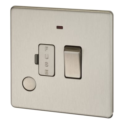 BG 13A Screwless Flatplate Switched Fuse Connection Unit with Flex Outlet and Neon - Brushed Steel