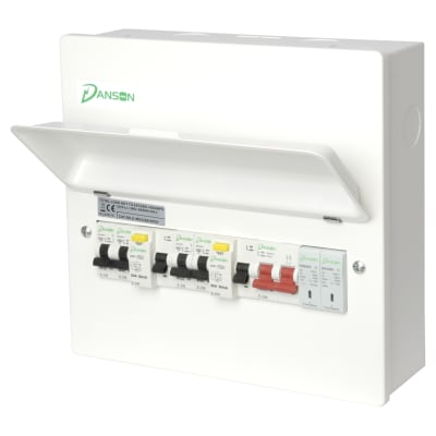 Danson High Integrity 12 Modules Metal Consumer Unit - 2 x Type A 80A 30mA RCD & SPD