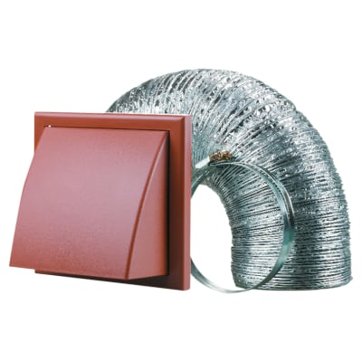 Blauberg Cooker Hood Duct Cowled Vent Kit Fan Extract - 100mm - Terracotta