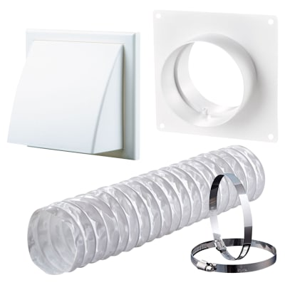 Blauberg Ventilation Wall Kit with PVC Duct & Cowled Wall Vent - 100mm - White
