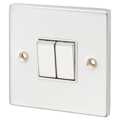 Click Scolmore 10AX Ingot 2 Gang 2 Way Switch - Polished Chrome with White Inserts
