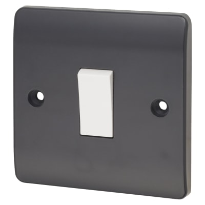 Click Scolmore 10A 1 Gang 2 Way Plate Switch - Anthracite Grey