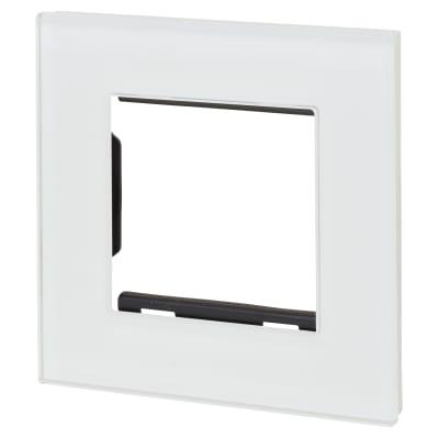 Retrotouch 2 Gang Euro Module Plate - White Plain Glass