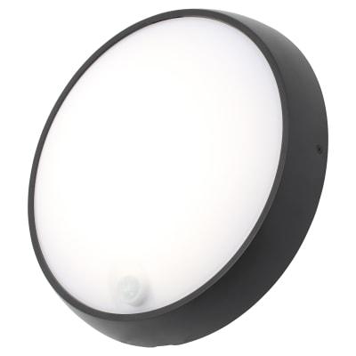 Forum Cano 15W LED Round Bulkhead With PIR - IP65 - Black