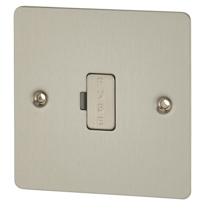 BG Flat Plate 13A 1 Gang Unswitched Fuse Spur Unit - Brushed Steel