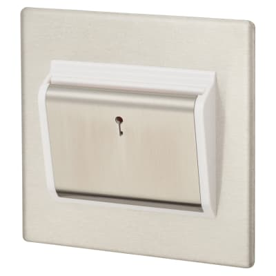 Hamilton Hartland G2 10A (6AX) 1 Gang Card Switch On/Off with Blue LED Locator - Satin Steel/White