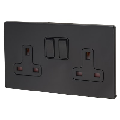 Hamilton Hartland CFX Colours 13A 2 Gang Switched Socket - Jet Black with Black Inserts