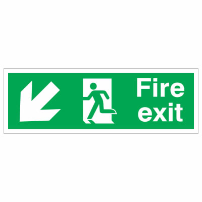 Fire Exit Down Left- 150 x 450mm - Rigid Plastic