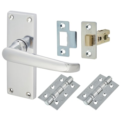 Touchpoint Victorian Door Handle Latch Kit - Polished Chrome