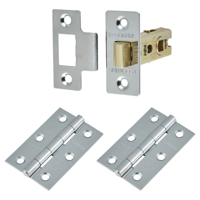 Touchpoint Latch Pack - 57mm Backset - 2 x Plain Steel Hinges - Polished Chrome