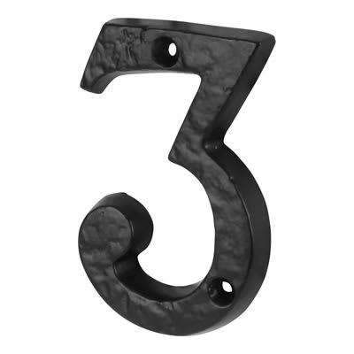 Olde Forge 76mm Numeral - 3 - Antique Black Iron