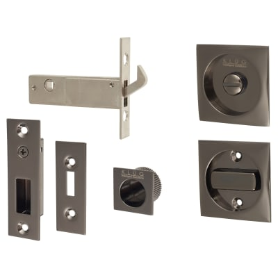 Klug Square Flush Privacy Set with Bolt - Black Nickel