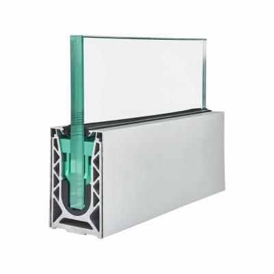 Barrier Sabco Aluminium Side Fix 2500mm Balustrade Rail Kit - 21.5mm Glass - Satin Stainless Cover
