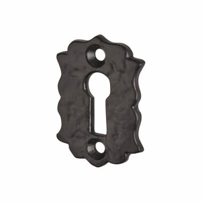 Olde Forge Floral Escutcheon - Keyhole - Antique Black Iron
