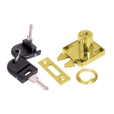 Sliding Door Lock - 19 x 22mm - Keyed to Differ - Brass Plated