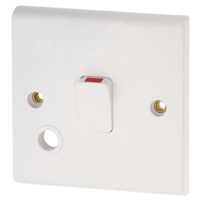 Deta 20A 1 Gang Double Pole Switch with Flex Outlet - White