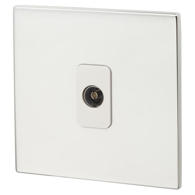 Hamilton Hartland CFX 1 Gang Non Isolated TV 1 In/ 1 Out Socket - Bright Chrome with White Inserts
