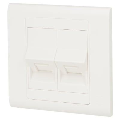 MK Essentials 1 Gang Double RJ45 CAT6 Data Socket - White