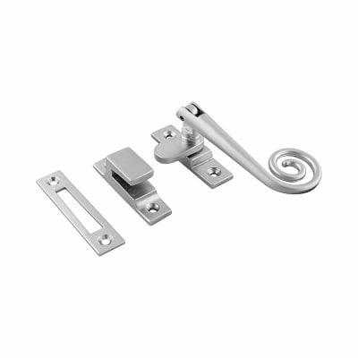 Hampstead Open Curl Hook & Plate Window Fastener - Soft Satin Chrome