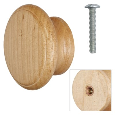 Touchpoint Wooden Cabinet Knob - Maple Lacquered - with Bolt & Insert - 60mm - Pack 5
