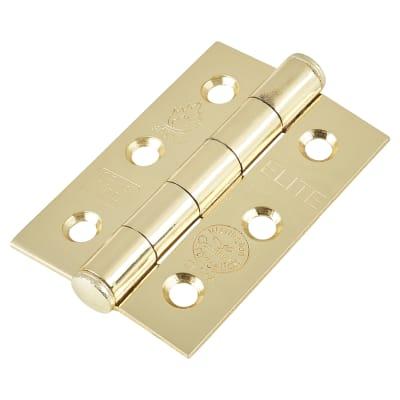 Plain Steel Hinge - 76 x 51 x 2mm - Polished Brass Plated