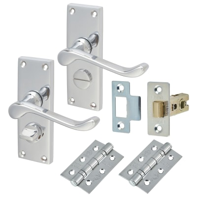 Touchpoint Victorian Scroll Privacy Latch Door Handle Kit - Polished Chrome