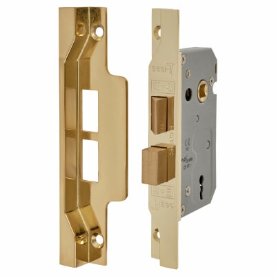 2 Lever Pre Rebated Sashlock - 64mm Case - 44mm Backset - Brass Plated