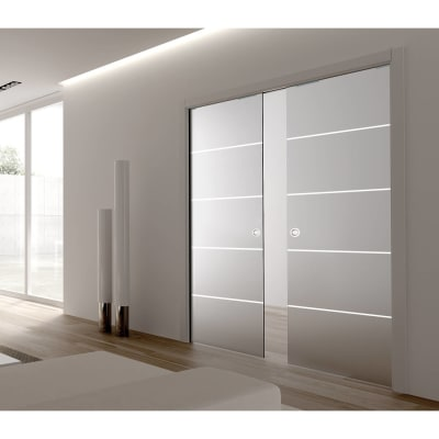 Eclisse 8mm Righe Patterned Glass Double Pocket Door Kit -100mm Wall - 762 + 762 x 1981mm Door Size