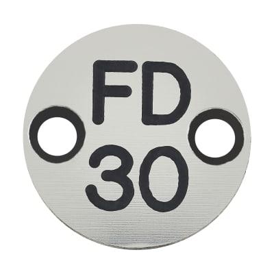 FD30 Door Sign Drilled - 25mm - Silver