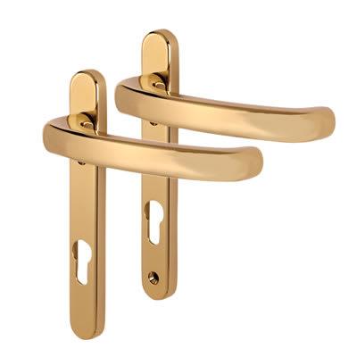 Fab & Fix Windsor uPVC Extended Multipoint Door Handle - 92mm c/c - Hardex Gold